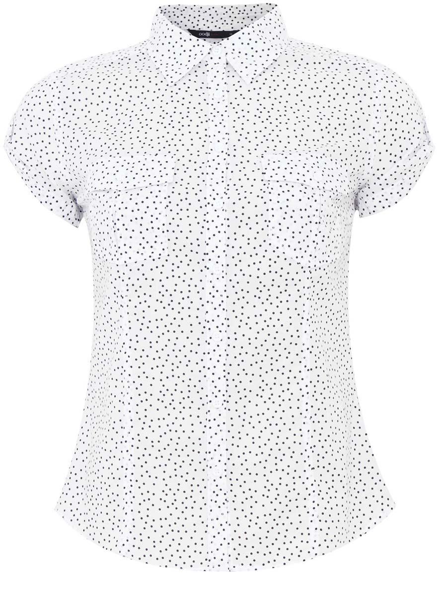 Рубашка женская oodji Ultra, цвет: белый, черный. 11402084-3/12836/1029D. Размер 36 (42-170)11402084-3/12836/1029DСтильная женская рубашка oodji Ultra выполнена из натурального хлопка. Модель с отложным воротником и короткими рукавами застегивается на пуговицы. На груди рубашка дополнена двумя накладными карманами с клапанами на пуговицах. Оформлено изделие оригинальным принтом.