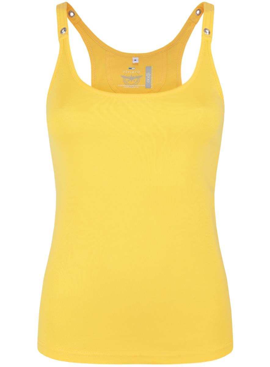 Майка женская oodji Collection, цвет: лимонный. 24305006B/46164/5100N. Размер M (46) платье oodji collection цвет черный белый 24001104 1 35477 1079s размер l 48