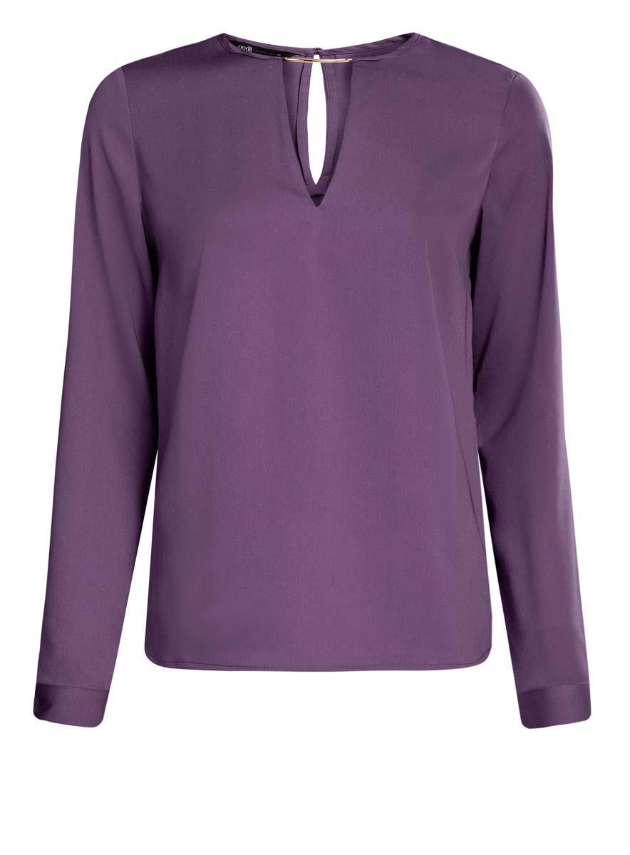 Блузка женская oodji Collection, цвет: фиолетовый. 21400396/38580/8800N. Размер 42 (48-170)21400396/38580/8800NЖенская блузка oodji Collection изготовлена из легкой ткани свободного кроя. Блузка имеет длинные рукава и оригинальный вырез горловины, дополненный декоративной вставкой. На спинке так же имеется вырез-капелька. Застегивается сзади и на манжетах на металлические пуговицы.
