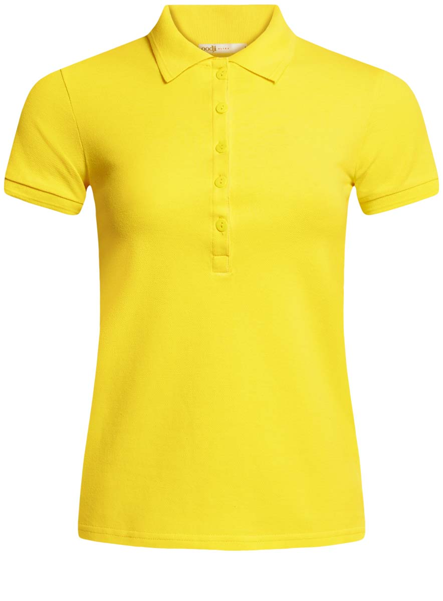 Поло женское oodji Ultra, цвет: лимонный. 19301001-1B/46161/5100N. Размер S (44)19301001-1B/46161/5100NПоло женское oodji Ultra изготовлено из высококачественного хлопка. Имеет короткие рукава и застегивается спереди на пуговицы.