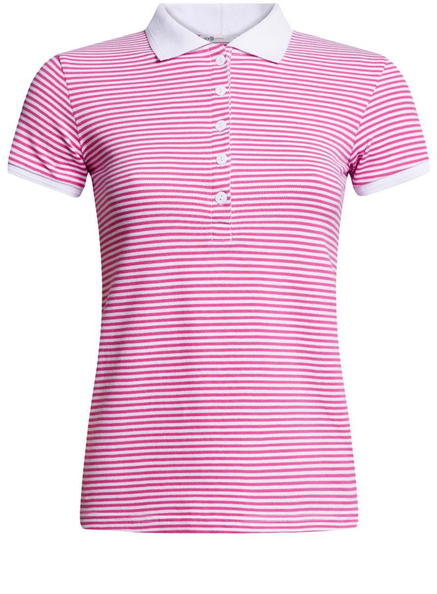 Поло женское oodji Ultra, цвет: розовый, белый. 19301001-1B/46161/4110S. Размер XXL (52)