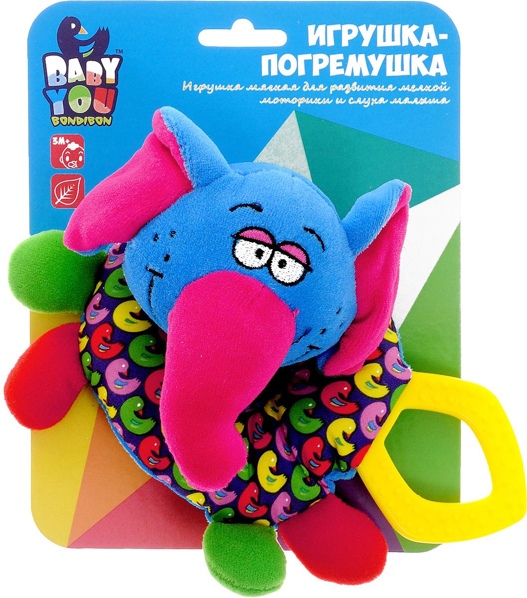 Bondibon Мягкая игрушка-погремушка Слоник bondibon мягкая игрушка погремушка слоник