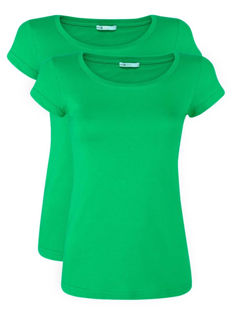 Футболка женская oodji Ultra, цвет: зеленый, 2 шт. 14701008T2/46154/6A00N. Размер XS (42)14701008T2/46154/6A00NЖенская приталенная футболка выполнена из хлопка. Модель с круглым вырезом горловины и стандартными короткими рукавами. В комплект входят 2 футболки.