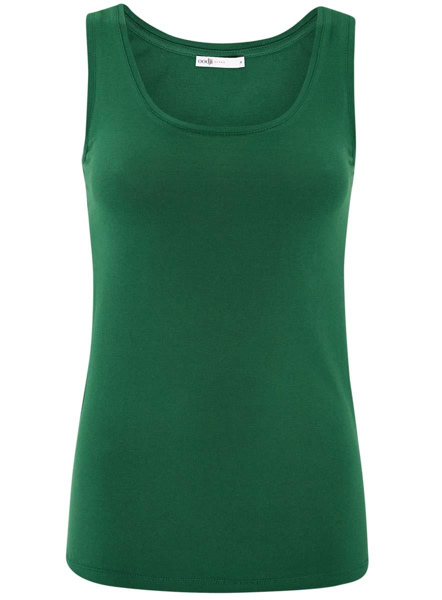 Майка женская oodji Ultra, цвет: темно-зеленый. 14315002B/46154/6E00N. Размер S (44) футболка женская oodji ultra цвет зеленый 2 шт 14701008t2 46154 6a00n размер s 44