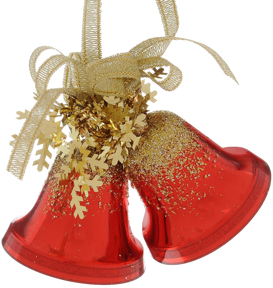 Украшение новогоднее подвесное Weiste Двойные колокольчики, цвет: красный, золотой, высота 6 см5575Новогоднее подвесное украшение Weiste Двойные колокольчики выполнено из пластика и ПВХ. Изделие оформлено блестками. С помощью специальной петельки украшение можно повесить в любом понравившемся вам месте. Но, конечно, удачнее всего оно будет смотреться на праздничной елке.Елочная игрушка - символ Нового года. Она несет в себе волшебство и красоту праздника. Создайте в своем доме атмосферу веселья и радости, украшая новогоднюю елку нарядными игрушками, которые будут из года в год накапливать теплоту воспоминаний.Размер колокольчика: 5 х 5 х 5 см.Общий размер украшения: 5 х 6 х 10 см.