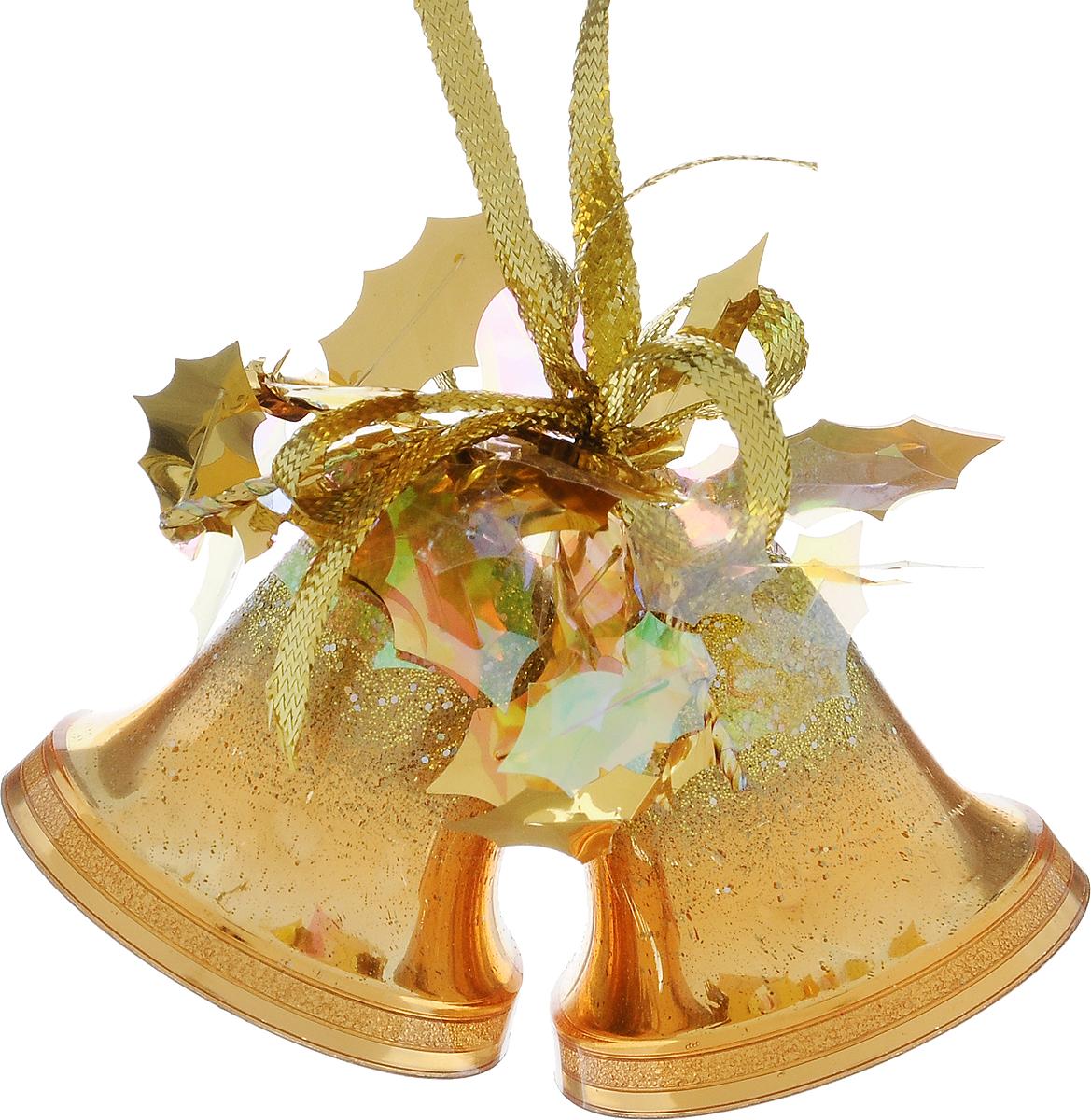 Украшение новогоднее подвесное Weiste Двойные колокольчики, цвет: золотой, высота 6 см5531Новогоднее подвесное украшение Weiste Двойные колокольчики выполнено из пластика и ПВХ. Изделие оформлено блестками. С помощью специальной петельки украшение можно повесить в любом понравившемся вам месте. Но, конечно, удачнее всего оно будет смотреться на праздничной елке.Елочная игрушка - символ Нового года. Она несет в себе волшебство и красоту праздника. Создайте в своем доме атмосферу веселья и радости, украшая новогоднюю елку нарядными игрушками, которые будут из года в год накапливать теплоту воспоминаний.Размер колокольчика: 5 х 5 х 5 см.Общий размер украшения: 5 х 6 х 10 см.