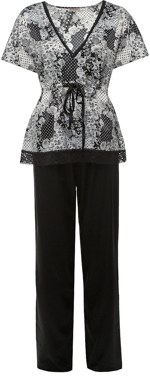 Пижама женская Barbara Bettoni Montenegro, цвет: белый, черный. BB146. Размер L (48) serbia montenegro macedonia 1 500 000