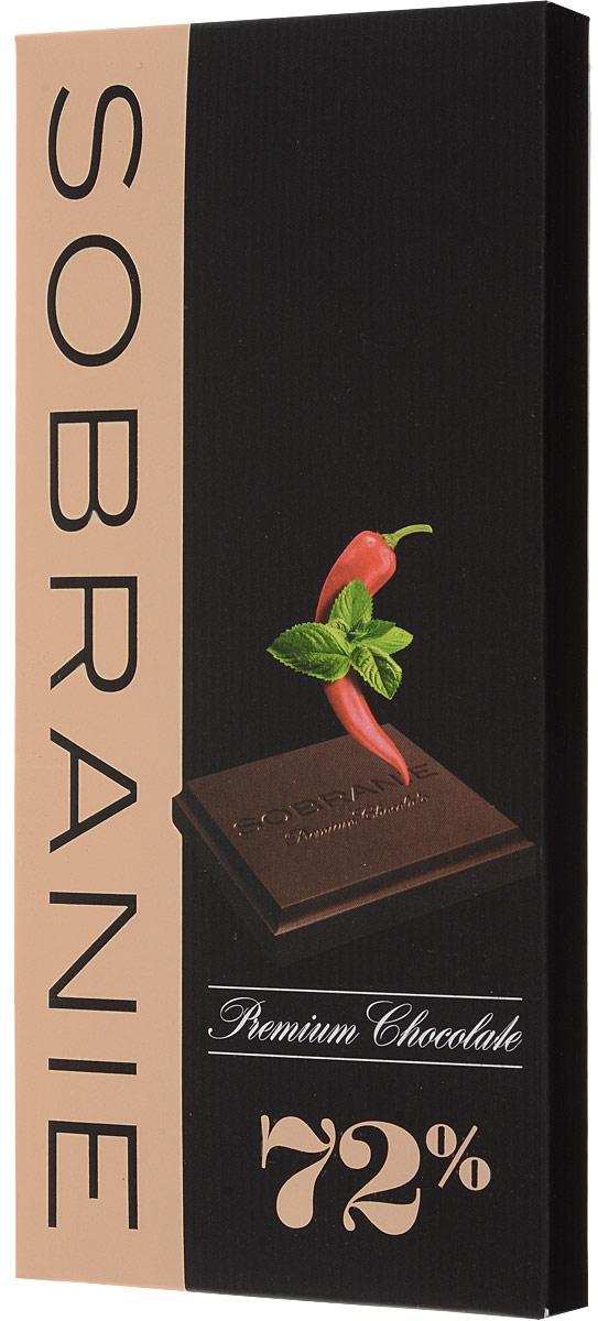 Sobranie горький шоколад с кайенским перцем и мятой, 90 г шоколад горький 77% какао блэкминт
