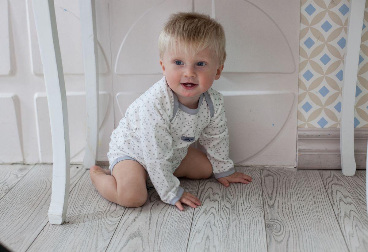 Боди для мальчика Lucky Child Дуэт, цвет: серый, молочный, 2 шт. 33-5. Размер 80/86 боди детское lucky child улитки цвет молочный коричневый 3 шт 30 133 размер 80 86