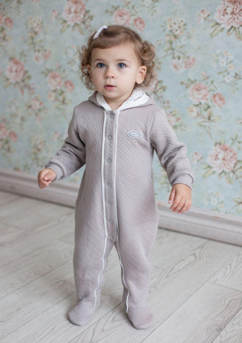 Комбинезон для девочки Lucky Child Дуэт, цвет: бежевый. 33-3. Размер 80/86 пижама для девочки lucky child цвет кремовый желтый оранжевый 12 402 размер 80 86