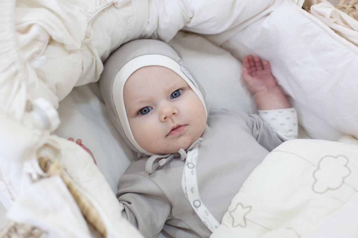 Чепчик для девочки Lucky Child Дуэт, цвет: серый, молочный, 3 шт. 33-10Д. Размер 47 пижамы lucky child пижама