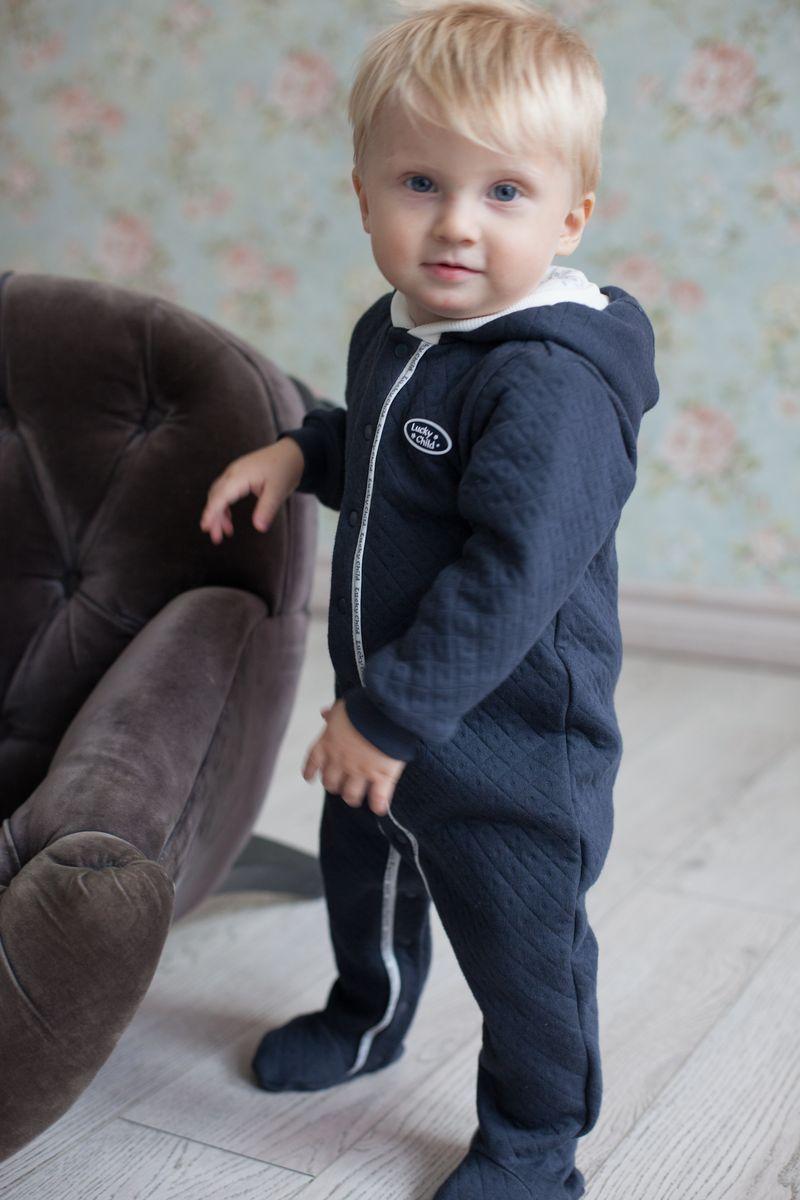 Фото Комбинезон для мальчика Lucky Child Дуэт, цвет: темно-серый. 33-3. Размер 80/86