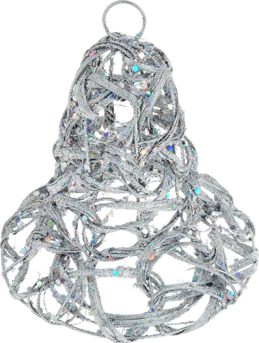Украшение новогоднее подвесное Lovemark Плетеный колокол, цвет: серебристый, высота 15 см украшение новогоднее подвесное lovemark колокол цвет золотой красный высота 12 см