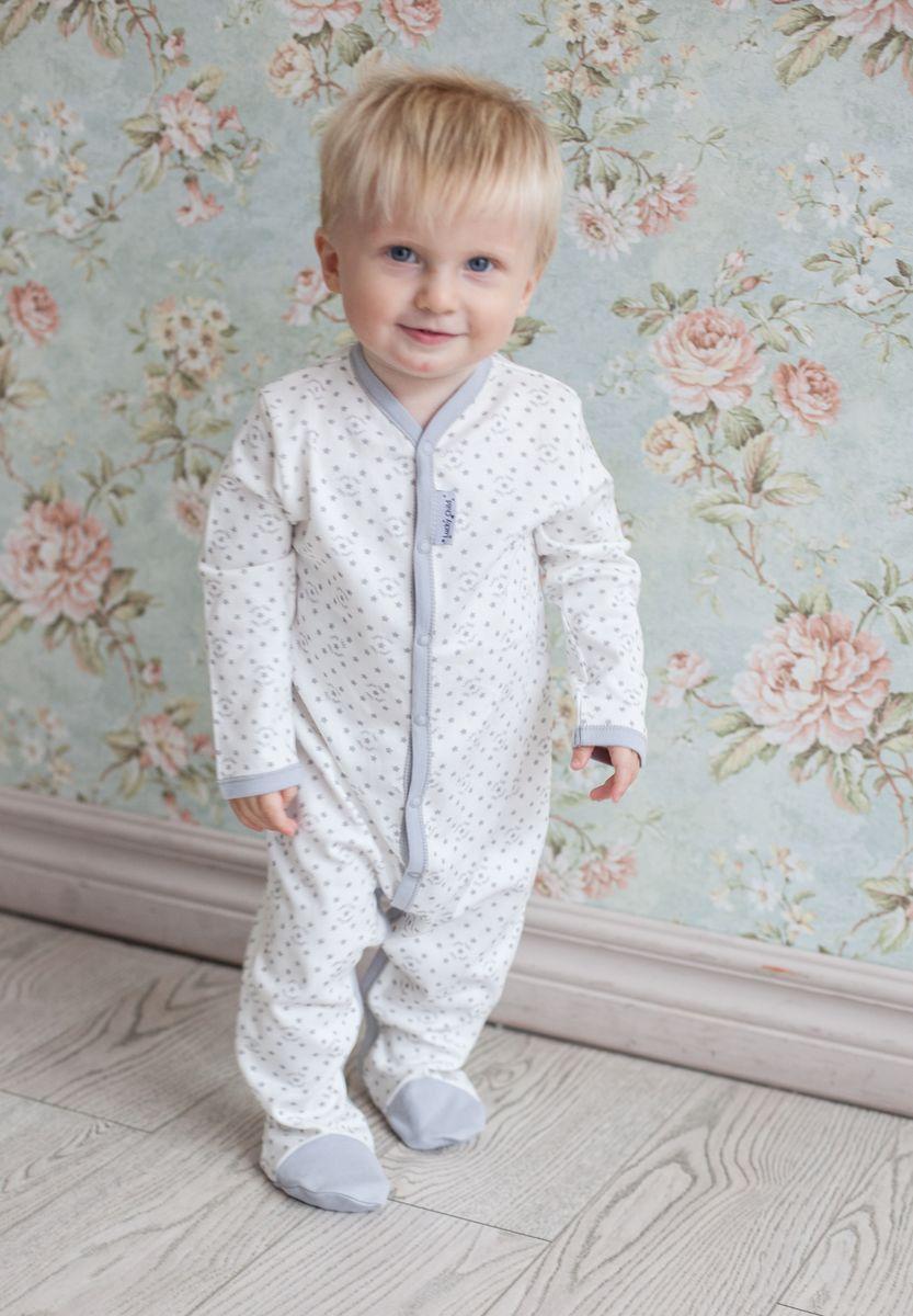 Комбинезон для мальчика Lucky Child Дуэт, цвет: серый, молочный, 2 шт. 33-1. Размер 80/86 пижама для девочки lucky child цвет кремовый желтый оранжевый 12 402 размер 80 86