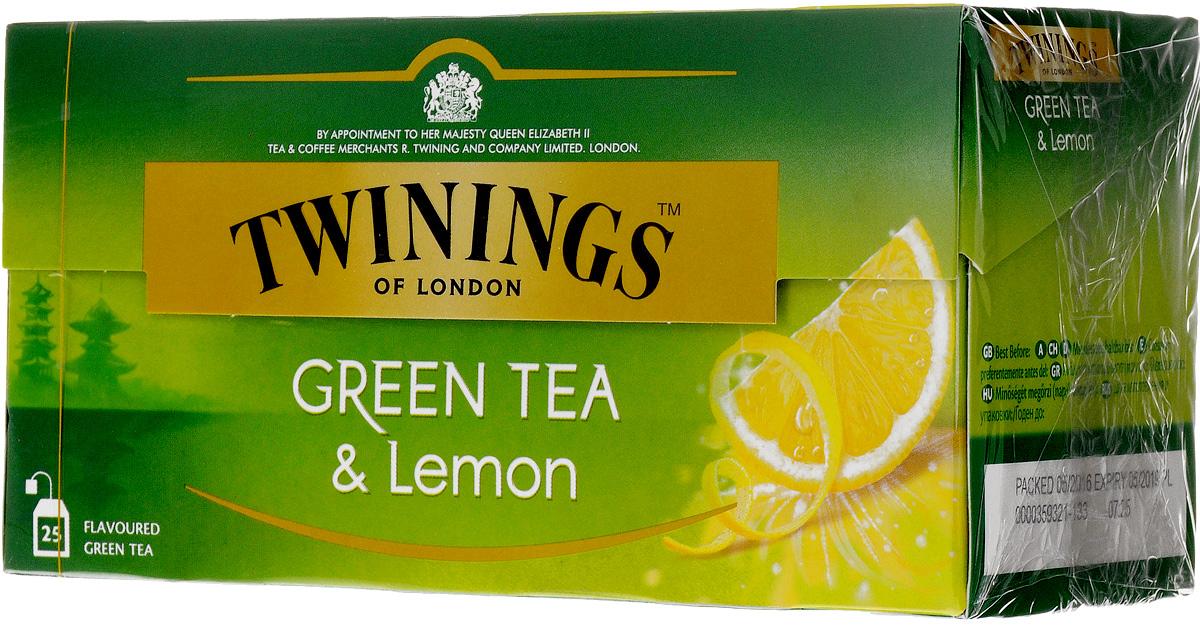 Twinings Green Tea & Lemon зелёный чай с цедрой лимона в пакетиках, 25 шт mama lemon green tea 600