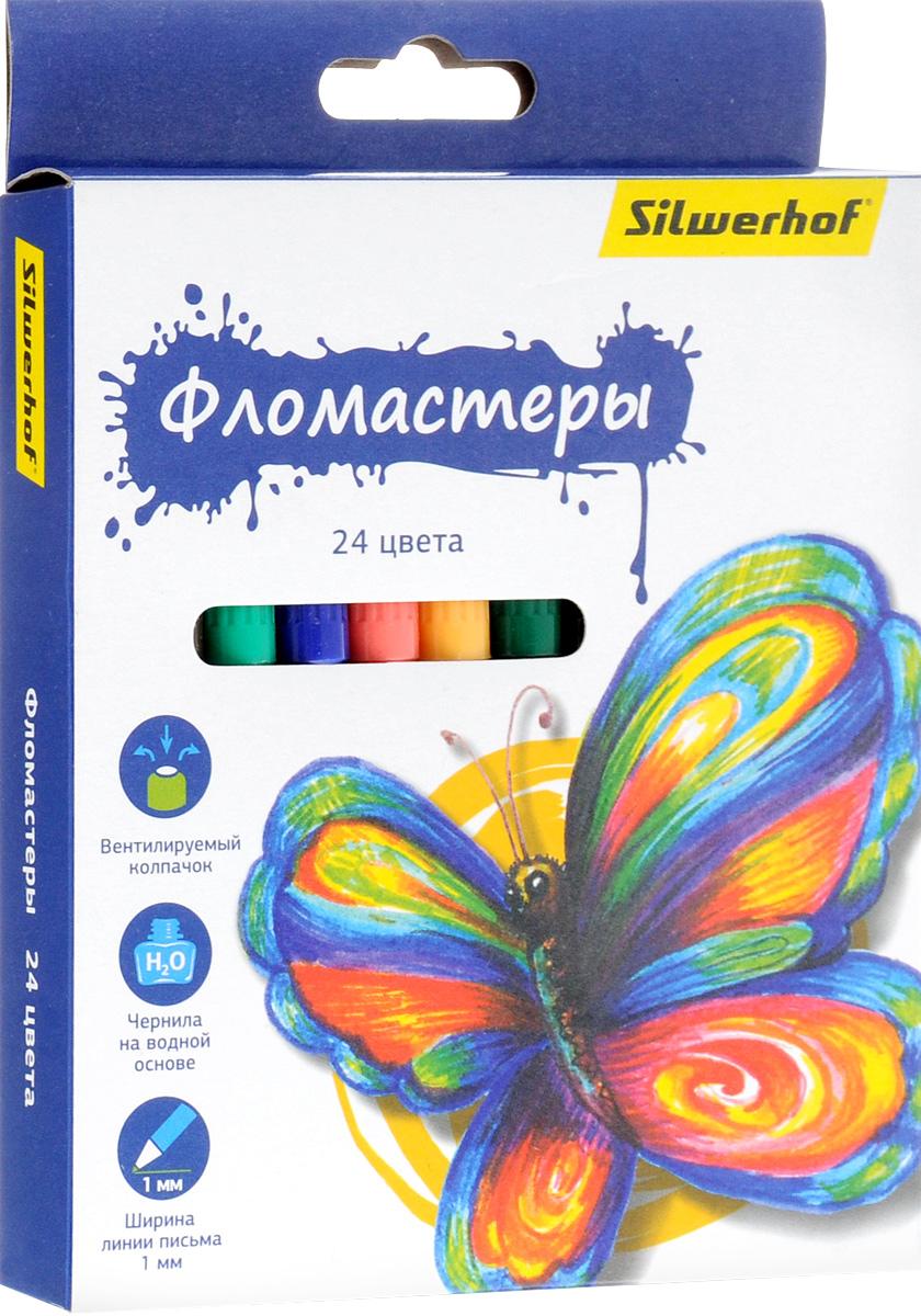 Silwerhof Фломастеры Бабочки 24 цвета867200-24Набор Silwerhof Бабочки - это 24 фломастера ярких насыщенных цветов в разноцветных пластиковых корпусах (цвет корпуса соответствует цвету чернил). Каждый фломастер оснащен плотным вентилируемым колпачком, защищающим чернила от испарения.Чернила изготовлены на водной основе. Легко отстирываются и смываются с рук.Фломастеры Silwerhof - идеальный инструмент для самовыражения и развития маленького художника!