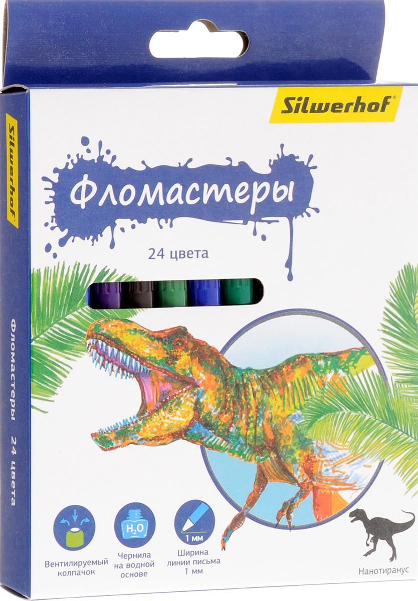 Silwerhof Фломастеры Динозавры 24 цвета150112Набор Silwerhof Динозавры содержит фломастеры 24 ярких насыщенных цветов. Корпус фломастеров изготовлен из полипропилена. Безопасные чернила на водной основе легко отстирываются и смываются. Маленький диаметр удобен для детских пальчиков. Фломастеры оснащены вентилируемыми колпачками.Ширина линии письма: 1 мм.Фломастеры Silwerhof откроют юным художникам новые горизонты для творчества, а также помогут отлично развить мелкую моторику рук, цветовое восприятие, фантазию и воображение, способствуют самовыражению.