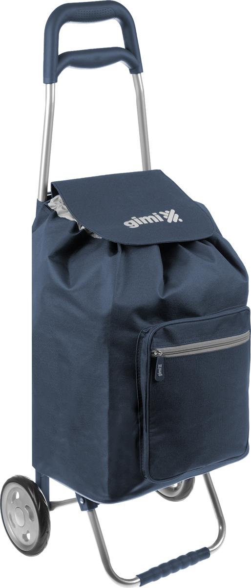 """Хозяйственная сумка-тележка Gimi """"Argo"""" выполнена из высококачественного полиэстера со стальным каркасом. Она оснащена 1 вместительным отделением, закрывающимся на шнурок. Спереди расположен карман на застежке-молнии. Сумка водоустойчива, оснащена 2 колесами, обеспечивающими удобство транспортировки. Для компактного хранения сумку можно сложить. Максимальная нагрузка: 30 кг."""