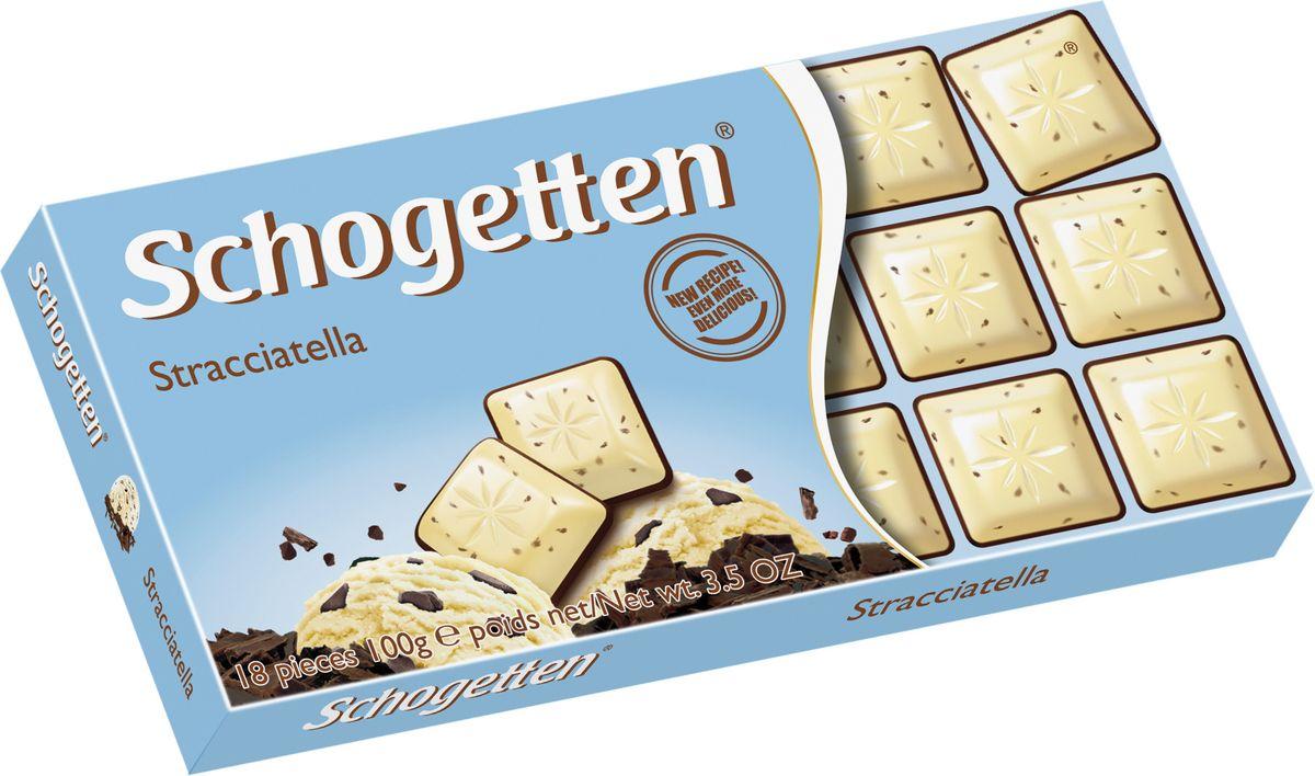 Schogetten Stracciatella Белый шоколад с какао-крупкой горького шоколада 100 г50587593Шоколад, который не нужно ломать. Белый шоколад с фундуком с какао-крупкой горького шоколада .
