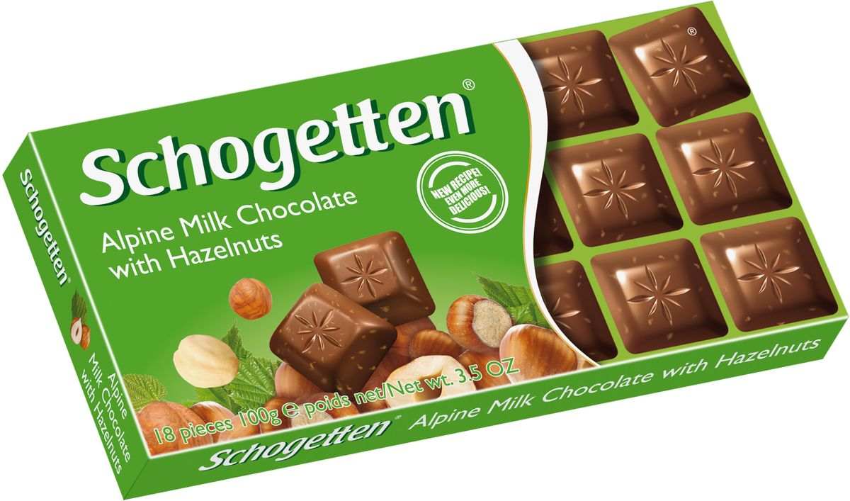 Schogetten Milk Chokolate with Hazelnuts Альпийский молочный шоколад с фундуком, 100 г50587588Шоколад, который не нужно ломать. Молочный шоколад с фундуком.