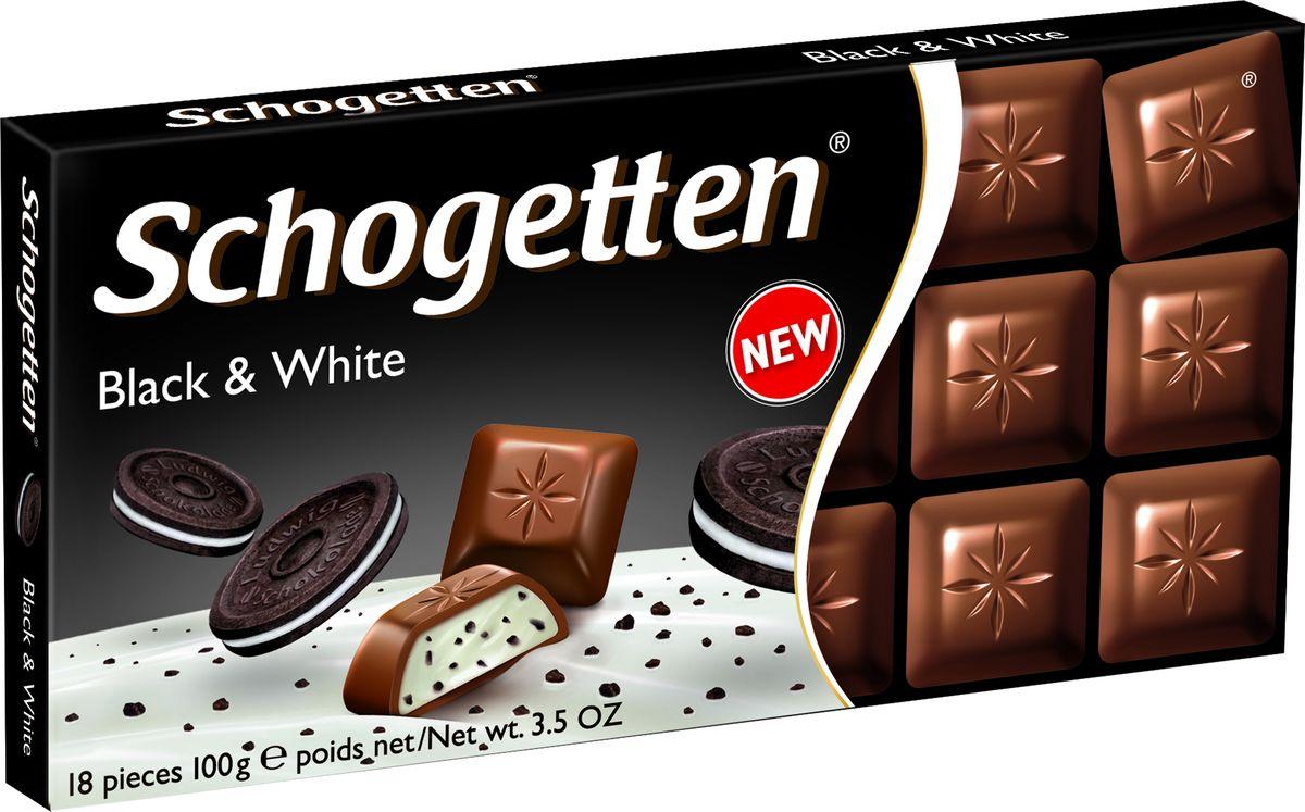 Schogetten Black&White Молочный шоколад с начинкой из ванильного крема и кусочками печенья с какао, 100 г ritter sport мята шоколад темный с мятной начинкой 100 г