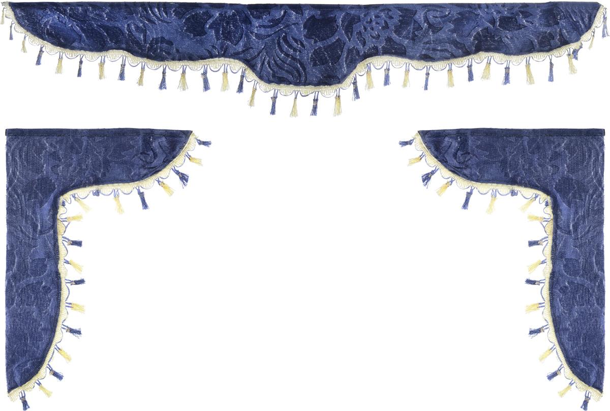 Ламбрекен для автомобильных штор Главдор, на Газель и микроавтобусы, цвет: серо-голубойGL-159Ламбрекен для автомобильных штор Главдор изготовлен из бархатистого текстиля и декорирован кисточками по всей длине. Ламбрекен фиксируется при помощи липучек в верхней области лобового стекла и по сторонам боковых стекол. Такой аксессуар защитит от солнечных лучей и добавит уюта в интерьер салона. Размер ламбрекена на лобовое стекло: 140 х 20 см. Размер ламбрекена на боковое стекло: 60 х 45 см.
