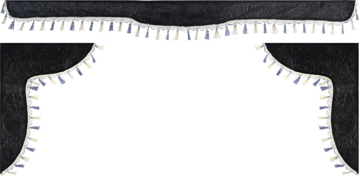 Ламбрекен для автомобильных штор Главдор, на Газель Next и микроавтобусы, цвет: черныйGL-182Ламбрекен для автомобильных штор Главдор изготовлен из бархатистого текстиля и декорирован кисточками по всей длине. Ламбрекен фиксируется при помощи липучек в верхней области лобового стекла и по сторонам боковых стекол. Такой аксессуар защитит от солнечных лучей и добавит уюта в интерьер салона.Размер ламбрекена на лобовое стекло: 180 х 15 см. Размер ламбрекена на боковое стекло: 60 х 45 см.