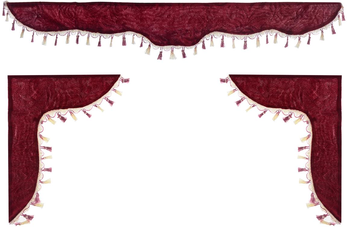 Ламбрекен для автомобильных штор Главдор, на Газель и микроавтобусы, цвет: бордовыйGL-158Ламбрекен для автомобильных штор Главдор изготовлен из бархатистого текстиля и декорирован кисточками по всей длине. Ламбрекен фиксируется при помощи липучек в верхней области лобового стекла и по сторонам боковых стекол. Такой аксессуар защитит от солнечных лучей и добавит уюта в интерьер салона. Размер ламбрекена на лобовое стекло: 140 х 20 см. Размер ламбрекена на боковое стекло: 60 х 45 см.