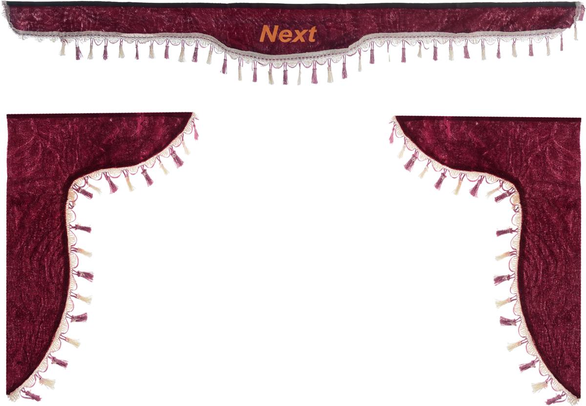 Ламбрекен для автомобильных штор Главдор, на Газель NEXT, цвет: бордовыйGL-185Ламбрекен для автомобильных штор Главдор изготовлен из бархатистого текстиля, оформлен надписью Next по центру и декорирован кисточками по всей длине. Ламбрекен фиксируется при помощи липучек в верхней области лобового стекла и по сторонам боковых стекол. Такой аксессуар защитит от солнечных лучей и добавит уюта в интерьер салона. Размер ламбрекена на лобовое стекло: 180 х 15 см. Размер ламбрекена на боковое стекло: 60 х 45 см.