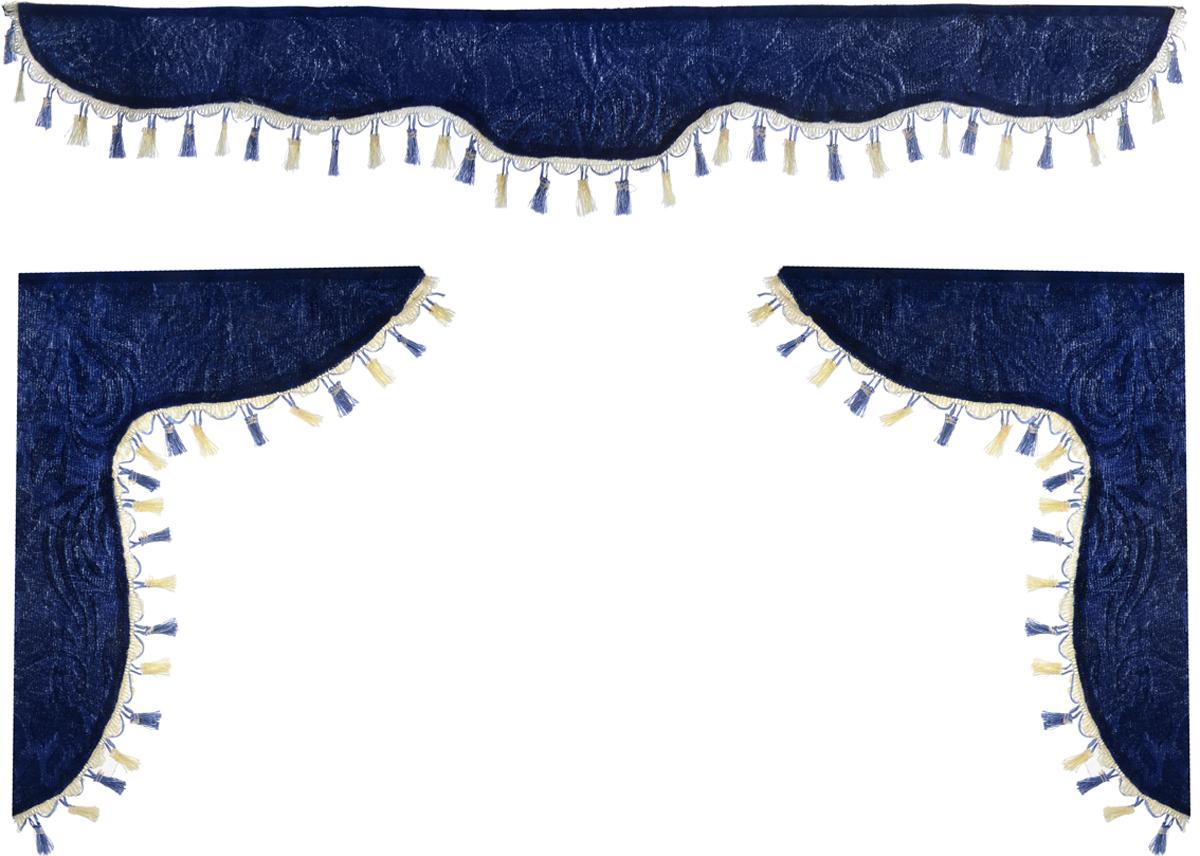 Ламбрекен для автомобильных штор Главдор, на Газель и микроавтобусы, цвет: темно-синийGL-161Ламбрекен для автомобильных штор Главдор изготовлен из бархатистого текстиля и декорирован кисточками по всей длине. Ламбрекен фиксируется при помощи липучек в верхней области лобового стекла и по сторонам боковых стекол. Такой аксессуар защитит от солнечных лучей и добавит уюта в интерьер салона. Размер ламбрекена на лобовое стекло: 140 х 20 см. Размер ламбрекена на боковое стекло: 60 х 45 см.