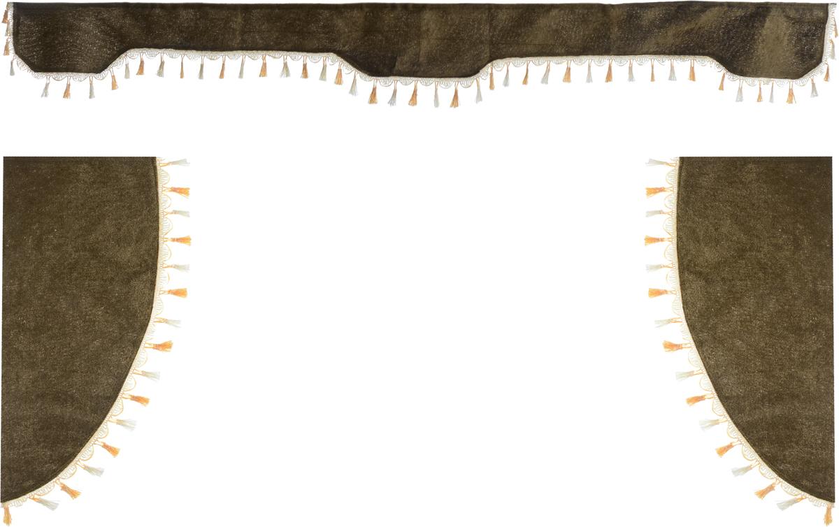 Ламбрекен для автомобильных штор Главдор, на грузовые, цвет: коричневый. GL-168GL-168Ламбрекен для автомобильных штор Главдор изготовлен из бархатистого текстиля и декорирован кисточками по всей длине. Ламбрекен фиксируется при помощи липучек в верхней области лобового стекла и по сторонам боковых стекол. Такой аксессуар защитит от солнечных лучей и добавит уюта в интерьер салона. Размер ламбрекена на лобовое стекло: 207 х 20 см. Размер ламбрекена на боковое стекло: 67 х 36 см.