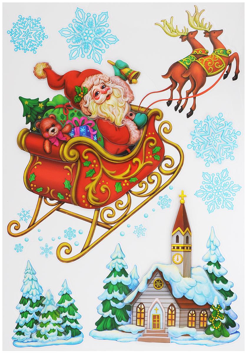 """Новогоднее оконное украшение Room Decoration """"Спешащий Санта"""" поможет украсить дом к предстоящим праздникам. Наклейки изготовлены из самоклеющегося поливинилхлорида. С помощью 3D объемных стикеров вы сможете оживить интерьер по своему вкусу: наклеить их на окно, на зеркало, стены и мебель. Допускается повторное использование.Новогодние украшения всегда несут в себе волшебство и красоту праздника. Создайте в своем доме атмосферутепла, веселья и радости, украшая его всей семьей.Размер листа: 29 х 41 см.Количество наклеек на листе: 7 шт.Размер самой большой наклейки: 27 х 30 см.Размер самой маленькой наклейки: 5,1 х 5,1 см."""
