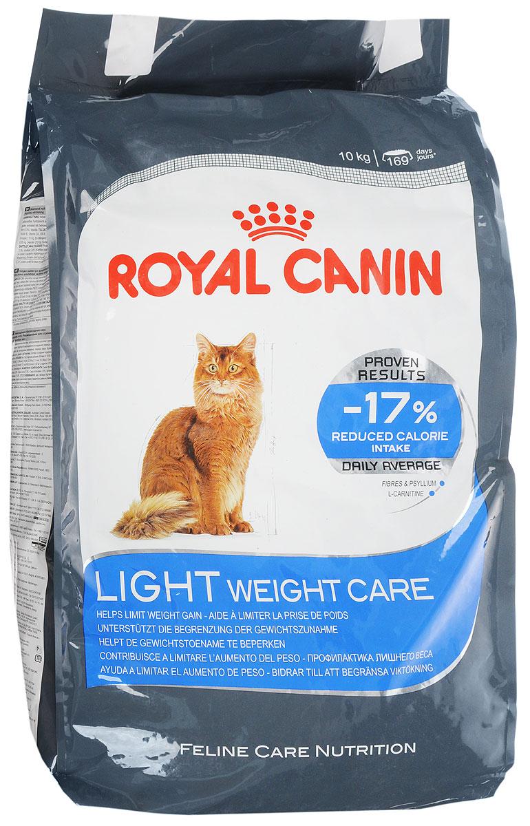 Корм сухой Royal Canin Light Weight Care, для взрослых кошек, для профилактики избыточного веса, 10 кг00667_кошкиСухой корм Royal Canin Light Weight Care является полнорационным сбалансированным кормом для взрослых кошек, склонных к избыточному весу. Содержание клетчатки и подорожника позволяет на 17% снизить калории, получаемые кошкой, при этом полностью удовлетворяя ее аппетит. Высокое содержание белка помогает сохранять мышечную массу, а L-карнитин способствует сжиганию жиров.Состав: изолят растительных белков, дегидратированные белки животного происхождения (птица), злаки, растительная клетчатка, рис, гидролизат белков животного происхождения, животные жиры, минеральные вещества, свекольный жом, дрожжи, рыбий жир, оболочки и семена подорожника 0,5%, соевое масло.Добавки в 1 кг: витамин А 19100 МЕ, витамин D3 700 МЕ, железо 32 мг, йод 3,2 мг, марганец 42 мг, цинк 126 мг, селен 0,05 мг, L-карнитин 210 мг.Содержание питательных веществ: белки 40%, жиры 10%, минеральные вещества 7,4%, клетчатка пищевая 8,4%, общая клетчатка 15,8%, медь 15 мг/кг.Товар сертифицирован.