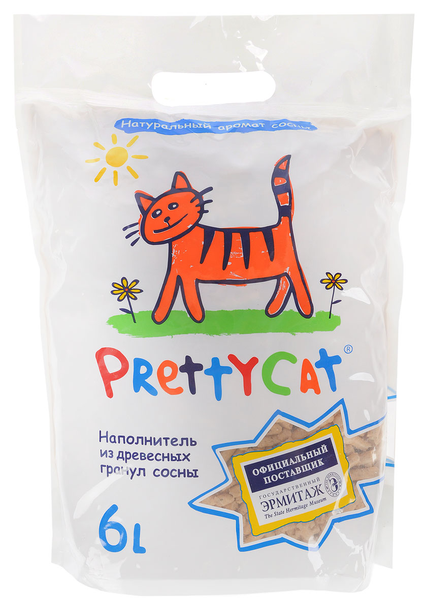 Наполнитель для кошачьих туалетов PrettyCat Wood Granules, древесный, 6 л наполнитель для кошачьих туалетов кошкин секрет древесный 2 5 кг