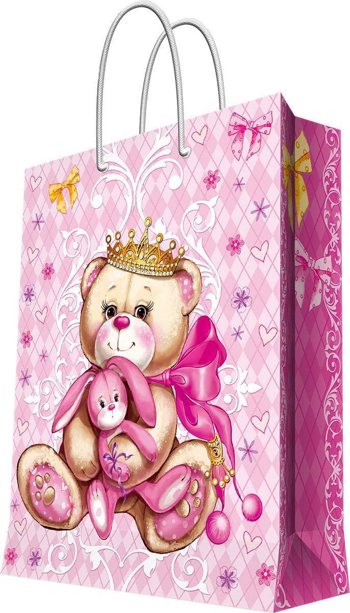 Пакет подарочный Magic Home Принцесса-медведица, 26 х 32,4 х 12,7 см44200Подарочный пакет Magic Home, изготовленный из плотной бумаги, станет незаменимым дополнением к выбранному подарку. Дно изделия укреплено картоном, который позволяет сохранить форму пакета и исключает возможность деформации дна под тяжестью подарка. Пакет выполнен с глянцевой ламинацией, что придает ему прочность, а изображению - яркость и насыщенность цветов. Для удобной переноски имеются две ручки в виде шнурков.Подарок, преподнесенный в оригинальной упаковке, всегда будет самым эффектным и запоминающимся. Окружите близких людей вниманием и заботой, вручив презент в нарядном, праздничном оформлении.Плотность бумаги: 140 г/м2.