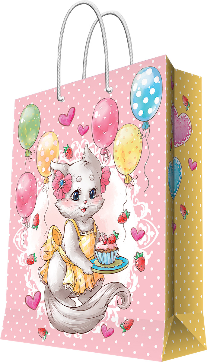 Пакет подарочный Magic Home Кошечка в фартуке, 26 х 32,4 х 12,7 см visual basic课程设计(附cd rom光盘1张)