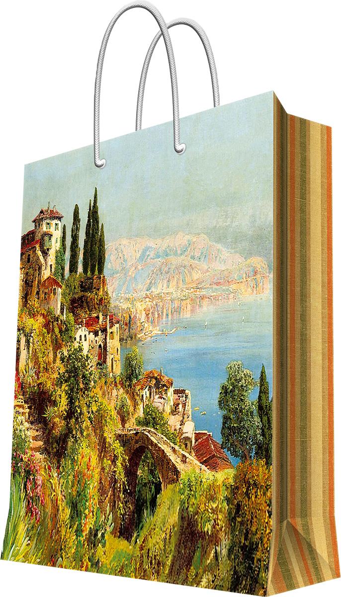 Пакет подарочный Magic Home Итальянский городок, 26 х 32,4 х 12,7 см44207Подарочный пакет Magic Home, изготовленный из плотной бумаги, станет незаменимым дополнением к выбранному подарку. Дно изделия укреплено картоном, который позволяет сохранить форму пакета и исключает возможность деформации дна под тяжестью подарка. Пакет выполнен с глянцевой ламинацией, что придает ему прочность, а изображению - яркость и насыщенность цветов. Для удобной переноски имеются две ручки в виде шнурков.Подарок, преподнесенный в оригинальной упаковке, всегда будет самым эффектным и запоминающимся. Окружите близких людей вниманием и заботой, вручив презент в нарядном, праздничном оформлении.Плотность бумаги: 140 г/м2.