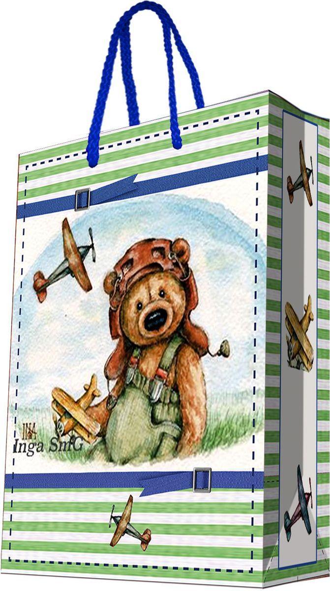 Пакет подарочный Magic Home Мишка-летчик, 33 х 45,7 х 10,2 см44210Подарочный пакет Magic Home, изготовленный из плотной бумаги, станет незаменимым дополнением к выбранному подарку. Дно изделия укреплено картоном, который позволяет сохранить форму пакета и исключает возможность деформации дна под тяжестью подарка. Пакет выполнен с глянцевой ламинацией, что придает ему прочность, а изображению - яркость и насыщенность цветов. Для удобной переноски имеются две ручки в виде шнурков.Подарок, преподнесенный в оригинальной упаковке, всегда будет самым эффектным и запоминающимся. Окружите близких людей вниманием и заботой, вручив презент в нарядном, праздничном оформлении.Плотность бумаги: 140 г/м2.