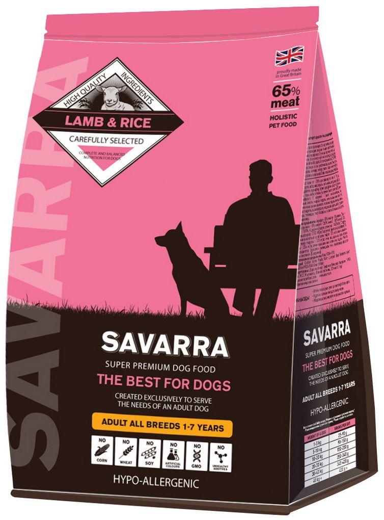 """Корм сухой """"Savarra"""" для взрослых собак, с ягненком и рисом, 3 кг"""