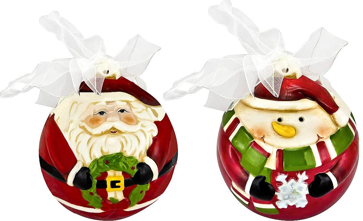 Набор новогодних подвесных украшений Mister Christmas Дед Мороз и снеговик, высота 10,5 см, 2 шт набор подсвечников mister christmas дед мороз высота 22 5 см 2 шт