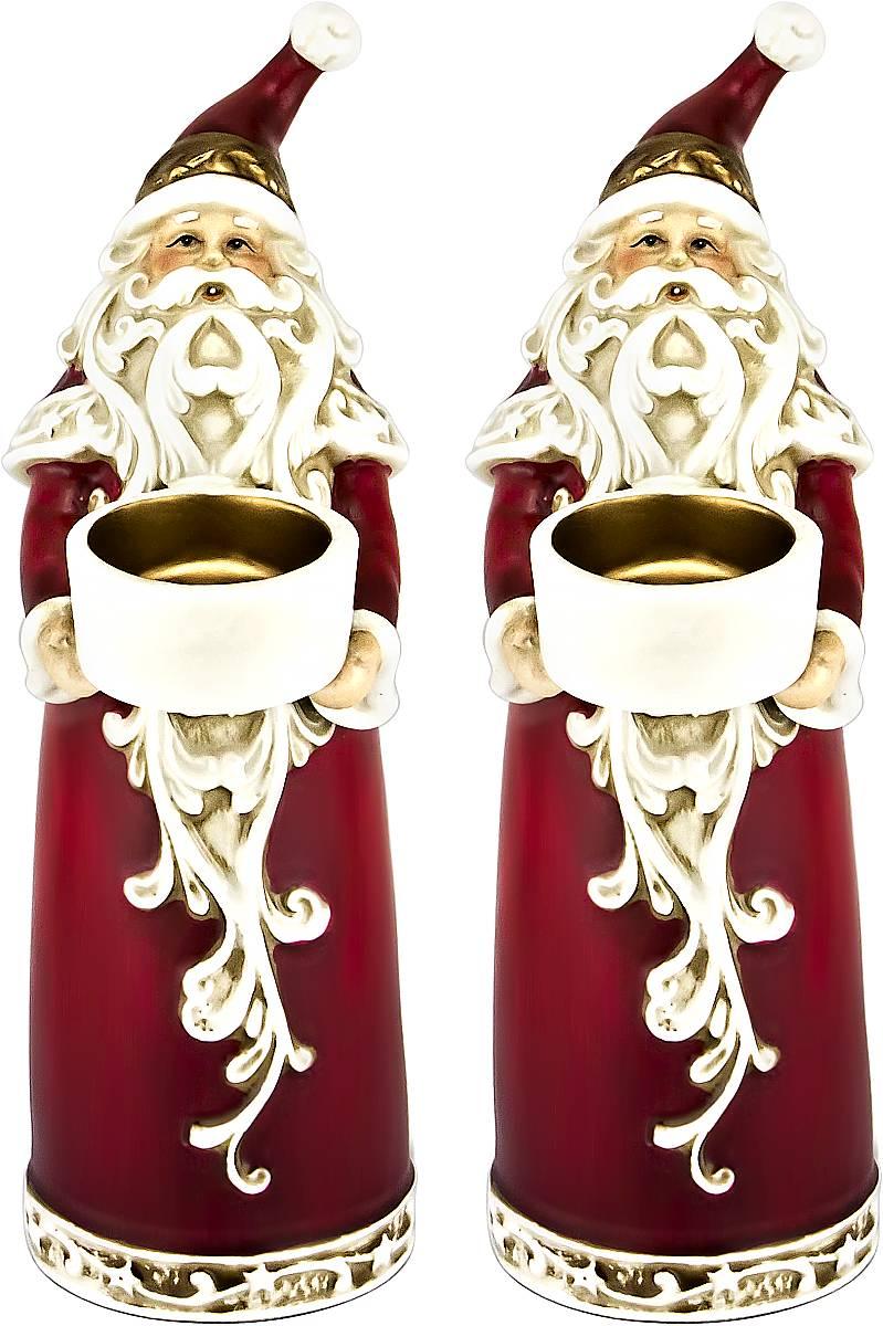 Набор подсвечников Mister Christmas Дед Мороз, высота 22,5 см, 2 шт набор подсвечников mister christmas дед мороз высота 22 5 см 2 шт