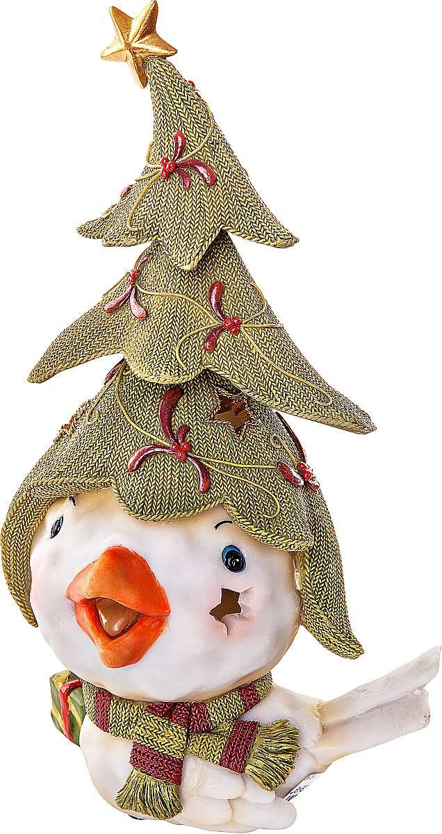 """Статуэтка Mister Christmas """"Птичка с елкой"""" выполнена из полистоуна в виде забавной птички. Она привлекает к себе внимание и буквально умиляет, заставляя улыбнуться.  Такой сувенир станет отличным подарком родным или друзьям на Новый год, а также он украсит интерьер вашего дома или офиса.Высота статуэтки: 26 см."""