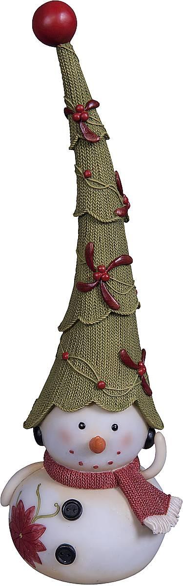 """Статуэтка Mister Christmas """"Снеговик"""", цвет: белый, зеленый, красный, высота 30 см"""
