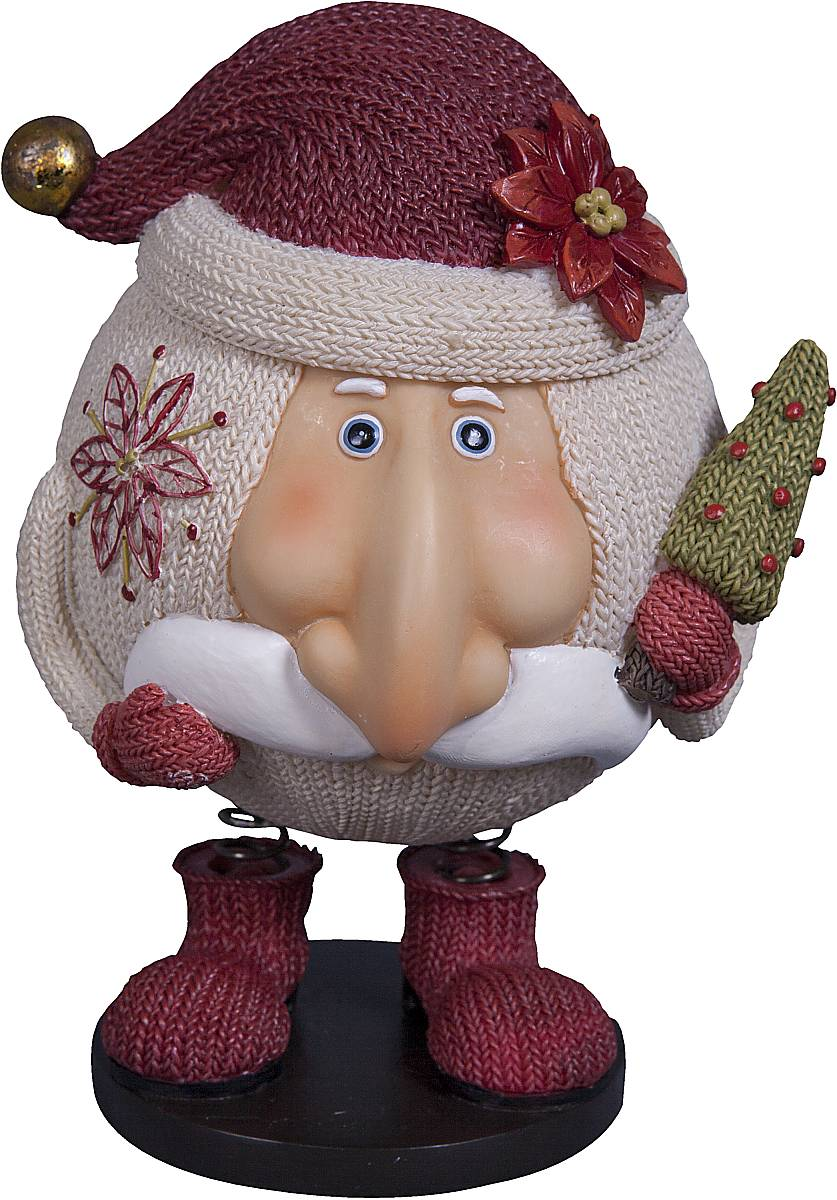 """Статуэтка Mister Christmas """"Дед Мороз"""" выполнена  из полистоуна в виде забавного Деда Мороза на  пружинках. Она привлекает  к себе внимание и буквально умиляет, заставляя  улыбнуться.   Такой сувенир станет отличным подарком родным или  друзьям на Новый год, а также он украсит интерьер  вашего дома или офиса. Высота статуэтки: 14 см."""