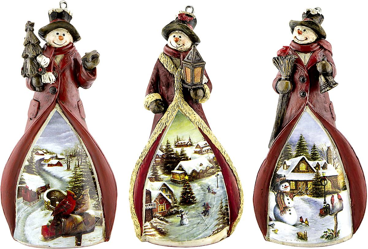 Набор новогодних подвесных украшений Mister Christmas Снеговики, высота 11 см, 3 штTM-S-SET/2Набор подвесных украшений Mister Christmas Снеговики прекрасно подойдет для праздничного декора новогодней ели. Набор состоит из трех украшений, выполненных из полистоуна. Для удобного размещения на елке для каждого украшения предусмотрена петелька. Елочная игрушка - символ Нового года. Она несет в себе волшебство и красоту праздника. Создайте в своем доме атмосферу веселья и радости, украшая новогоднюю елку нарядными игрушками, которые будут из года в год накапливать теплоту воспоминаний.Высота украшений: 11 см.