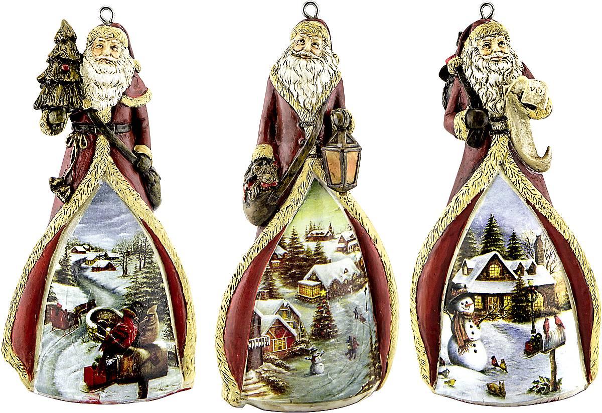Набор новогодних подвесных украшений Mister Christmas  Дед Мороз , высота 11 см, 3 шт - Украшения