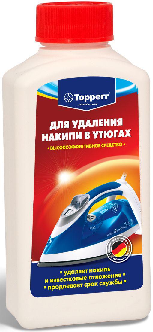 Средство от накипи для утюгов Topperr, 250 мл3003Концентрированное средство Topperr для очистки от накипи утюгов за счет высокой концентрации эффективно удаляет образовавшийся в процессе использования известковый налет. Бережно относится к внутренним деталям утюга и продлевает срок службы. Не токсично.Способ применения:Наполните емкость на 2/3 водой и 1/3 средством от накипи. Нагрейте утюг в вертикальном положение и в паровом режиме. Когда он нагреется, выключите его из сети и поставьте горизонтально. Подождите 2 часа, чтобы средство подействовало. Вылейте средство и промойте емкость несколько раз. Снова заполните емкость водой, нагрейте утюг и несколько раз нажмите кнопку подачи пара. Тщательно очистите основание. Перед глаженьем одежды примените паровую функцию на малочувствительной материи. Если известковое отложение не удаляется, повторите операцию, возможно, добавив в раствор больше средства от накипи.Как выбрать качественную бытовую химию, безопасную для природы и людей. Статья OZON Гид