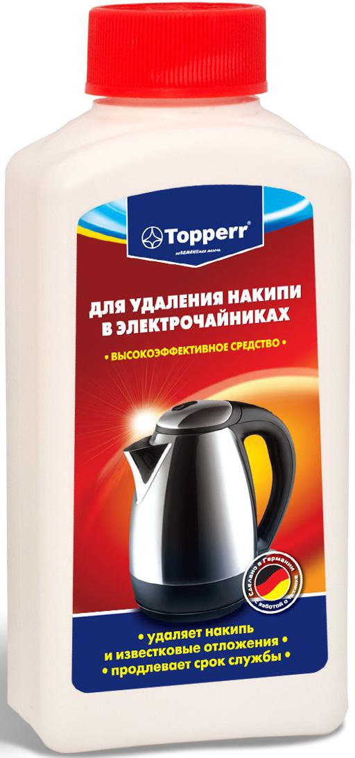 Средство от накипи Topperr для чайников и водонагревательных приборов, 250 мл3031Концентрированное средство Topperr для очистки от накипи чайников и водонагревательных приборов эффективно удаляет образовавшийся в процессе использования известковый налет. Бережно относится к внутренним деталям водонагревательных приборов и продлевает срок службы. Не токсично.Способ применения:Чайники и водонагревательные приборы: налить 1 л воды в чайник (резервуар). В зависимости от загрязнения добавить 100–120 мл средства. Нагреть раствор до 50°С и оставить действовать на 30 мин. Затем вылить раствор, тщательно прополоскать и прокипятить емкость.Кофеварки: налить 200 мл воды в резервуар кофеварки и добавить 50 мл средства. Включить кофеварку и прогнать около 100 мл раствора. Выключить кофеварку и дать остаткам раствора подействовать около 15 мин. Затем пропустить остатки раствора и дважды прогнать чистой водой.Товар сертифицирован.