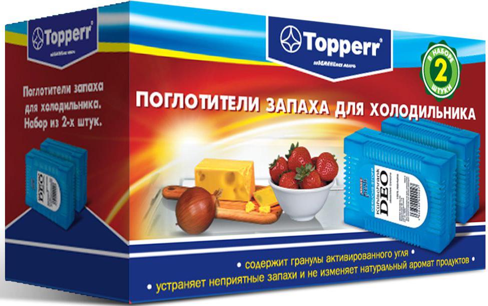 Поглотитель запаха для холодильника Topperr, 2 шт3105Поглотитель запаха для холодильника Topperr полностью удаляет неприятные запахи в холодильнике. Средство содержит гранулы активированного угля, являющегося лучшим из адсорбентов. Активированный уголь способен полностью поглощать неприятные запахи даже таких продуктов, как чеснок, лук, сыр, рыба, не выделяя собственных запахов. Не воздействует на продукты и сохраняет их натуральные ароматы. Способ применения:Вскрыть защитную упаковку и поместить в холодильник. Эффективен в течение 2 месяцев с момента вскрытия защитной упаковки.Товар сертифицирован.