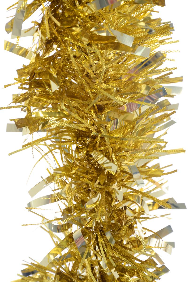Мишура новогодняя Weiste, цвет: золотистый, диаметр 12 см, длина 2 м6862Новогодняя мишура Weiste, выполненная из ПВХ, поможет вам украсить свой дом к предстоящим праздникам. Мишура армирована, то есть имеет проволоку внутри и способна сохранять форму.Новогодняя елка с таким украшением станет еще наряднее. Новогодней мишурой можно украсить все, что угодно - елку, квартиру, дачу, офис - как внутри, так и снаружи. Можно сложить новогодние поздравления, буквы и цифры, мишурой можно украсить и дополнить гирлянды, можно выделить дверные колонны, оплести дверные проемы.